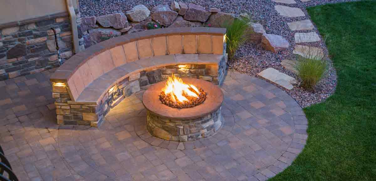 Hardscaping - Paver patio, seating, and fire pit