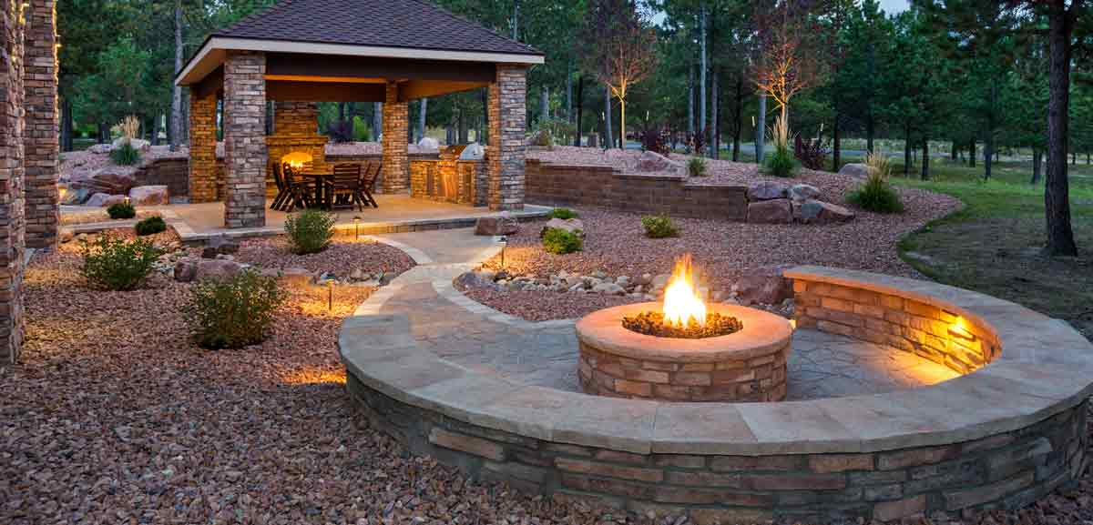 Hardscaping - Paver patio, seating, shelter, and fire pit